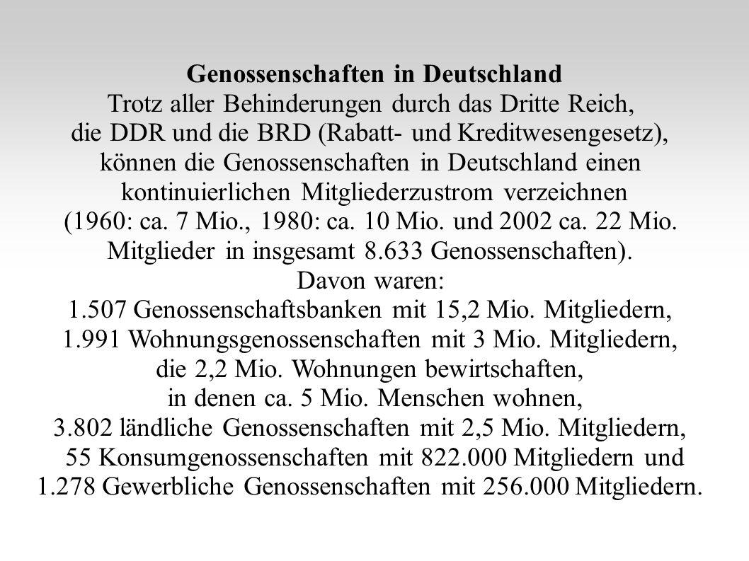 Genossenschaften in Deutschland Trotz aller Behinderungen durch das Dritte Reich, die DDR und die BRD (Rabatt- und Kreditwesengesetz), können die Geno