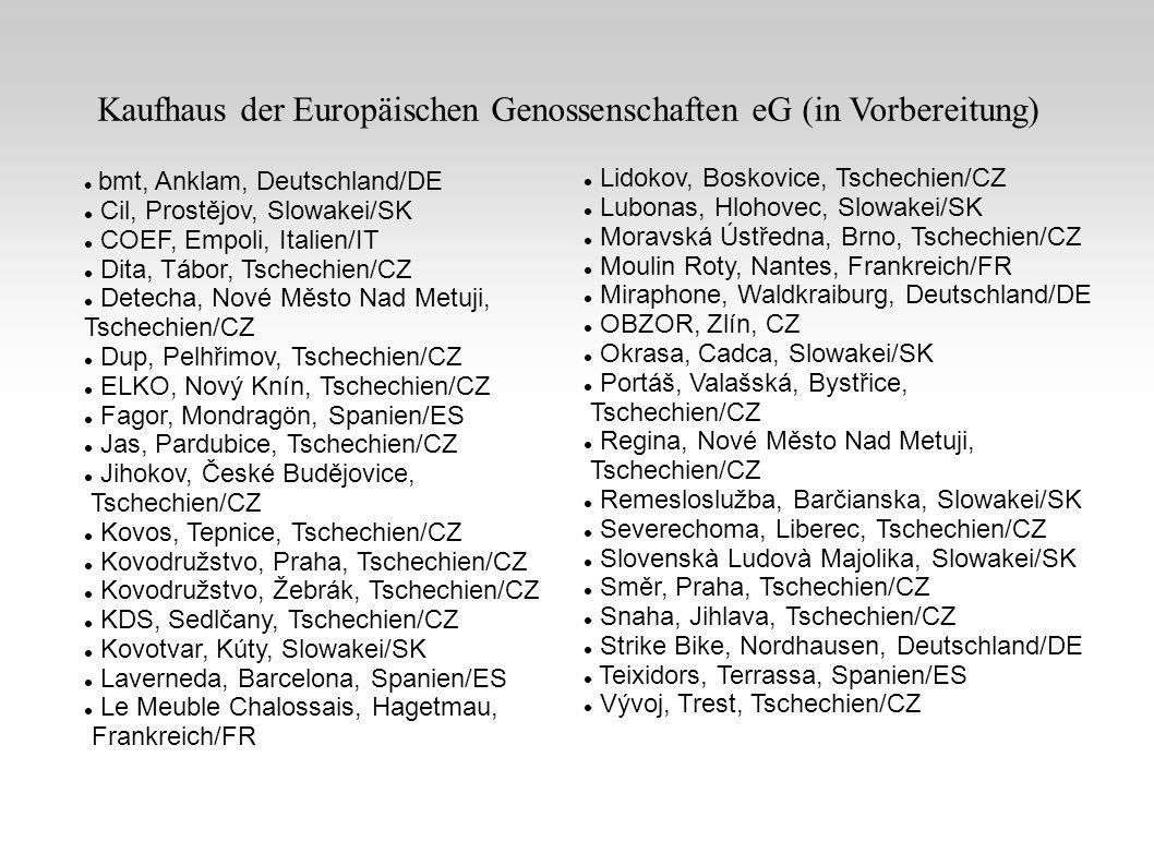 bmt, Anklam, Deutschland/DE Cil, Prostějov, Slowakei/SK COEF, Empoli, Italien/IT Dita, Tábor, Tschechien/CZ Detecha, Nové Město Nad Metuji, Tschechien