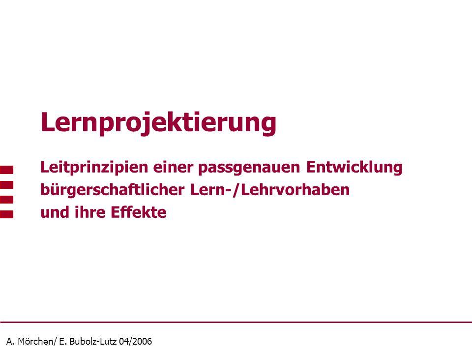 A. Mörchen/ E. Bubolz-Lutz 04/2006 Lernprojektierung Leitprinzipien einer passgenauen Entwicklung bürgerschaftlicher Lern-/Lehrvorhaben und ihre Effek