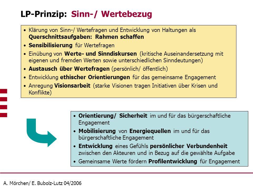 A. Mörchen/ E. Bubolz-Lutz 04/2006 Klärung von Sinn-/ Wertefragen und Entwicklung von Haltungen als Querschnittsaufgaben: Rahmen schaffen Sensibilisie