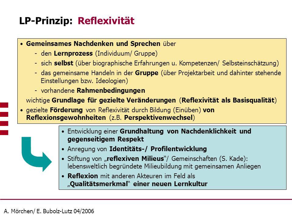 A. Mörchen/ E. Bubolz-Lutz 04/2006 Gemeinsames Nachdenken und Sprechen über - den Lernprozess (Individuum/ Gruppe) - sich selbst (über biographische E