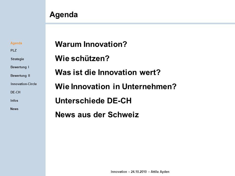Innovation – 24.10.2010 – Attila Ayden Produktlebenszyklus IdeeInnovation Agenda PLZ Strategie Infos Bewertung I Innovation-Circle Bewertung II DE-CH News