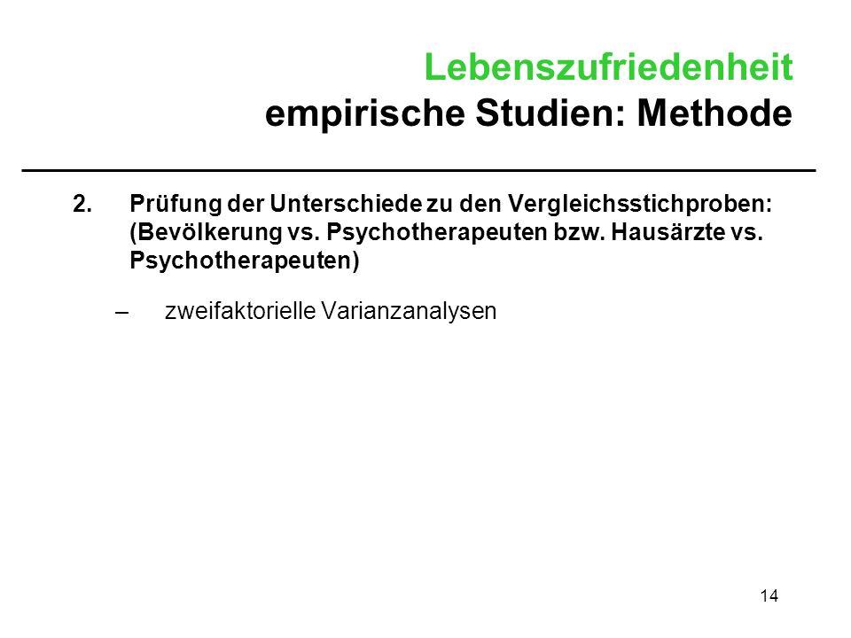 14 Lebenszufriedenheit empirische Studien: Methode 2.Prüfung der Unterschiede zu den Vergleichsstichproben: (Bevölkerung vs. Psychotherapeuten bzw. Ha