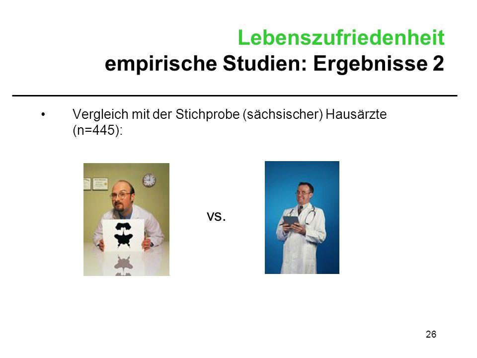 26 Lebenszufriedenheit empirische Studien: Ergebnisse 2 Vergleich mit der Stichprobe (sächsischer) Hausärzte (n=445): vs.