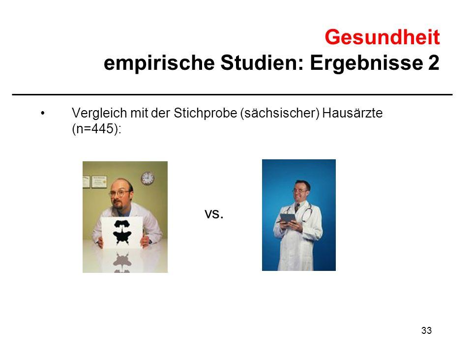 33 Gesundheit empirische Studien: Ergebnisse 2 Vergleich mit der Stichprobe (sächsischer) Hausärzte (n=445): vs.