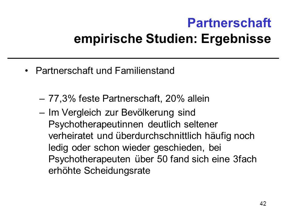 42 Partnerschaft empirische Studien: Ergebnisse Partnerschaft und Familienstand –77,3% feste Partnerschaft, 20% allein –Im Vergleich zur Bevölkerung s