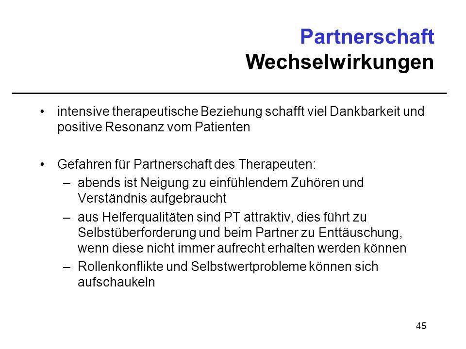 45 Partnerschaft Wechselwirkungen intensive therapeutische Beziehung schafft viel Dankbarkeit und positive Resonanz vom Patienten Gefahren für Partner