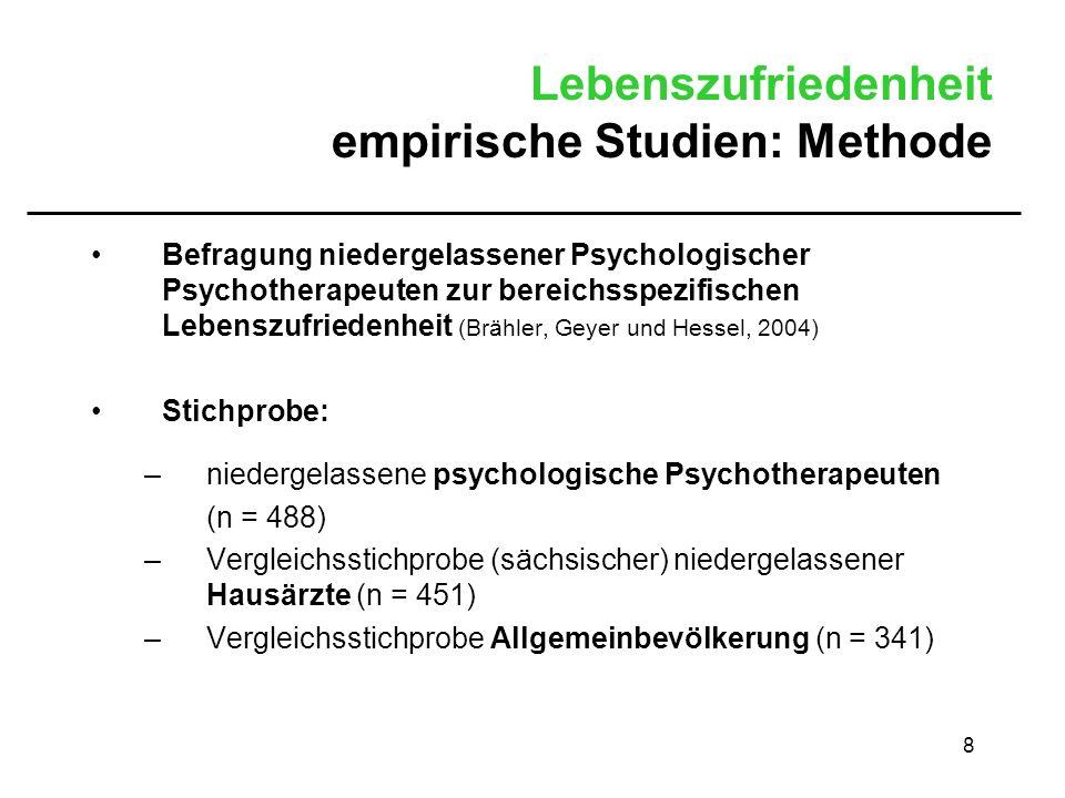 8 Lebenszufriedenheit empirische Studien: Methode Befragung niedergelassener Psychologischer Psychotherapeuten zur bereichsspezifischen Lebenszufriede