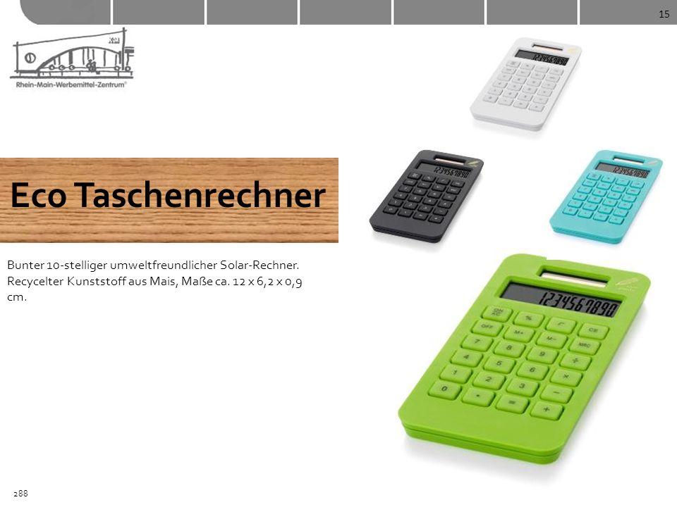 15 Eco Taschenrechner Bunter 10-stelliger umweltfreundlicher Solar-Rechner. Recycelter Kunststoff aus Mais, Maße ca. 12 x 6,2 x 0,9 cm. 288