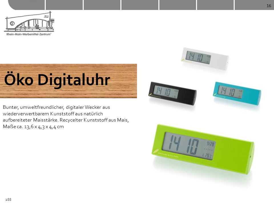 16 Öko Digitaluhr Bunter, umweltfreundlicher, digitaler Wecker aus wiederverwertbarem Kunststoff aus natürlich aufbereiteter Maisstärke. Recycelter Ku