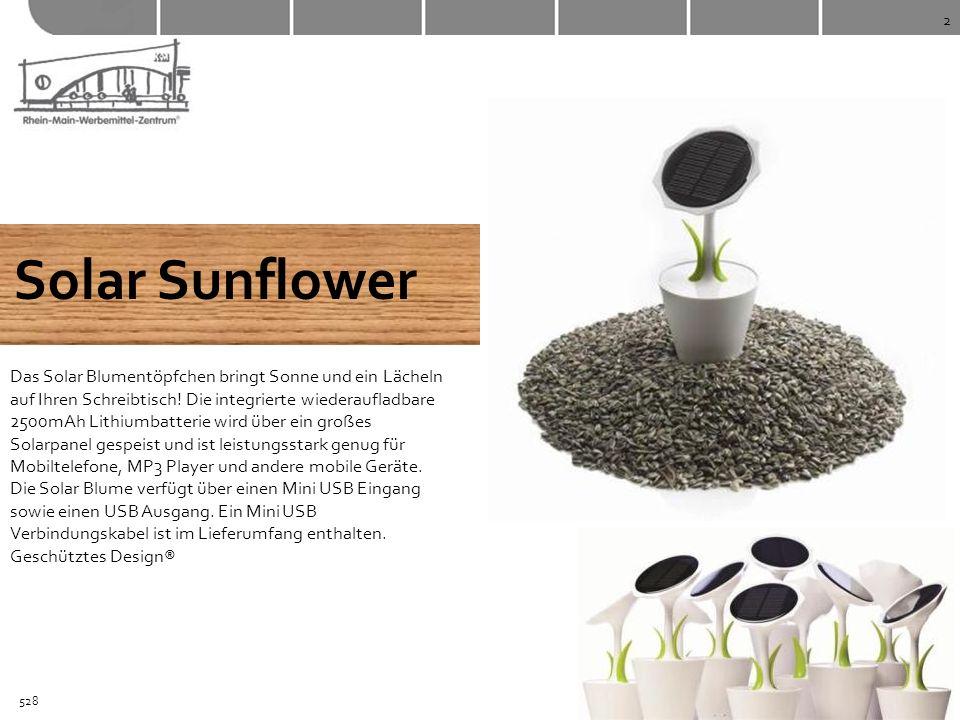 2 Solar Sunflower Das Solar Blumentöpfchen bringt Sonne und ein Lächeln auf Ihren Schreibtisch! Die integrierte wiederaufladbare 2500mAh Lithiumbatter