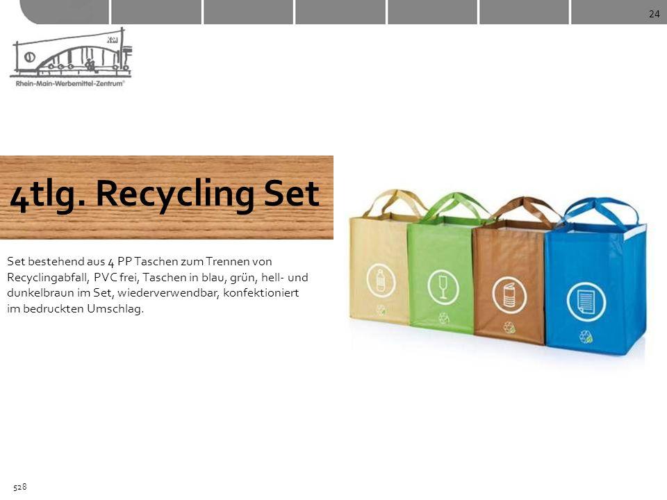 24 4tlg. Recycling Set Set bestehend aus 4 PP Taschen zum Trennen von Recyclingabfall, PVC frei, Taschen in blau, grün, hell- und dunkelbraun im Set,