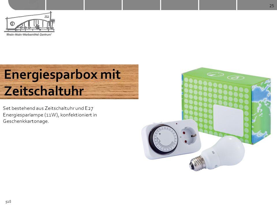 25 Energiesparbox mit Zeitschaltuhr Set bestehend aus Zeitschaltuhr und E27 Energiesparlampe (11W), konfektioniert in Geschenkkartonage. 528