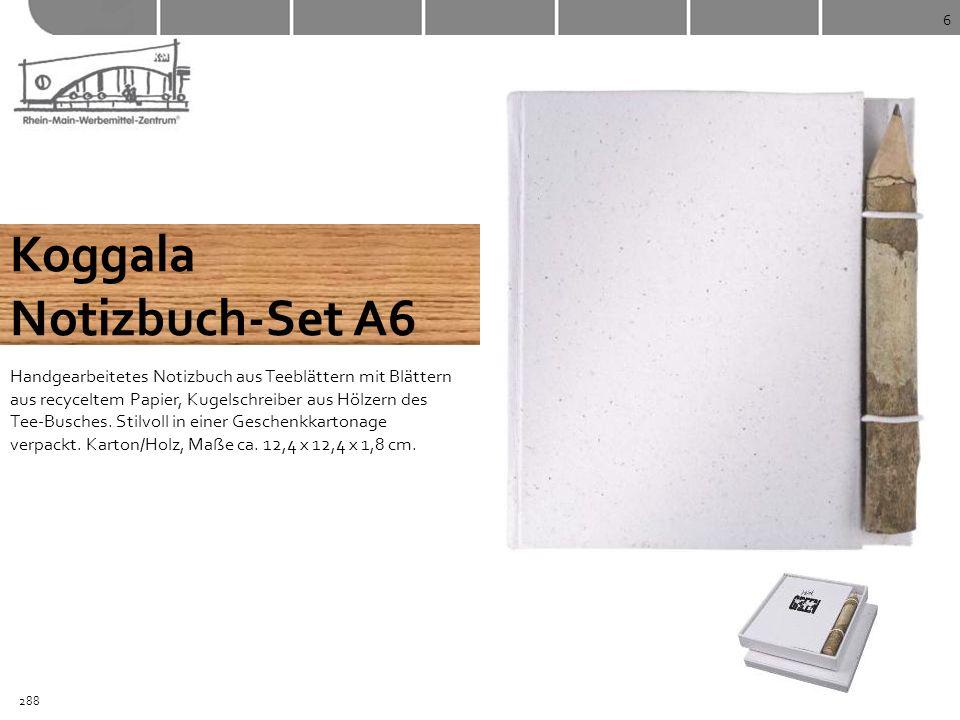 6 Koggala Notizbuch-Set A6 Handgearbeitetes Notizbuch aus Teeblättern mit Blättern aus recyceltem Papier, Kugelschreiber aus Hölzern des Tee-Busches.