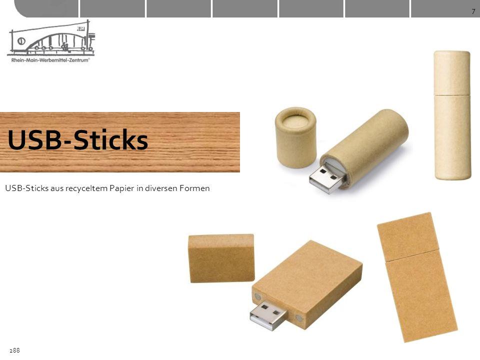 7 USB-Sticks USB-Sticks aus recyceltem Papier in diversen Formen 288