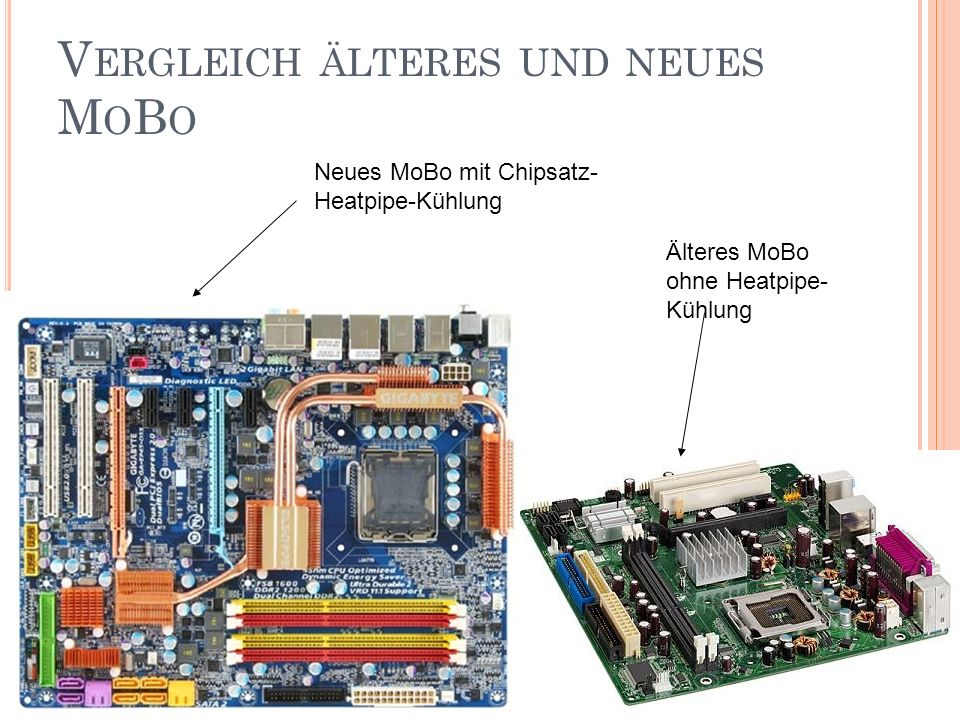 V ERGLEICH ÄLTERES UND NEUES M O B O Neues MoBo mit Chipsatz- Heatpipe-Kühlung Älteres MoBo ohne Heatpipe- Kühlung
