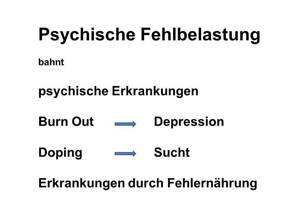 Psychische Fehlbelastung bahnt psychische Erkrankungen Burn Out Depression DopingSucht Erkrankungen durch Fehlernährung