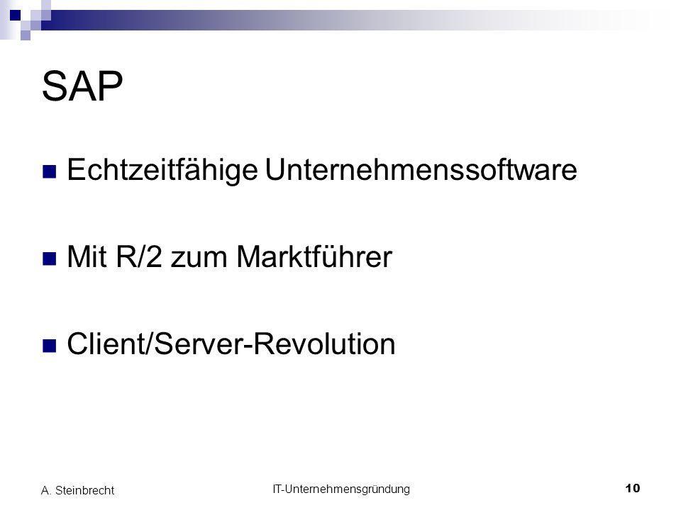 IT-Unternehmensgründung10 A. Steinbrecht SAP Echtzeitfähige Unternehmenssoftware Mit R/2 zum Marktführer Client/Server-Revolution