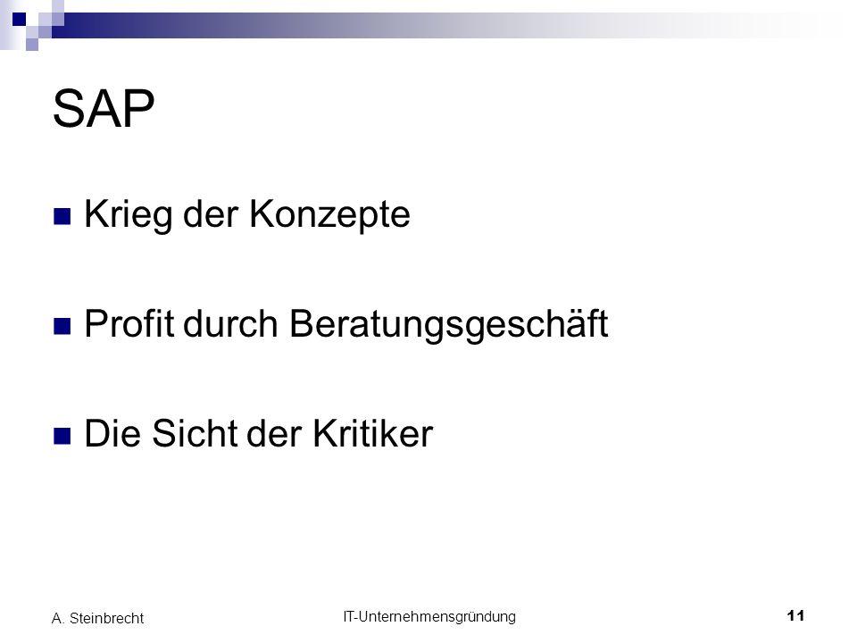 IT-Unternehmensgründung11 A. Steinbrecht SAP Krieg der Konzepte Profit durch Beratungsgeschäft Die Sicht der Kritiker