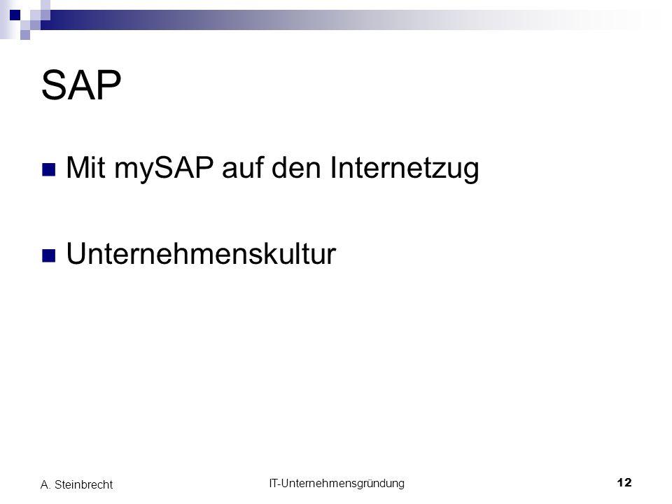 IT-Unternehmensgründung12 A. Steinbrecht SAP Mit mySAP auf den Internetzug Unternehmenskultur