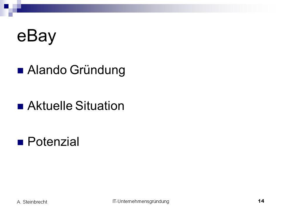 IT-Unternehmensgründung14 A. Steinbrecht eBay Alando Gründung Aktuelle Situation Potenzial