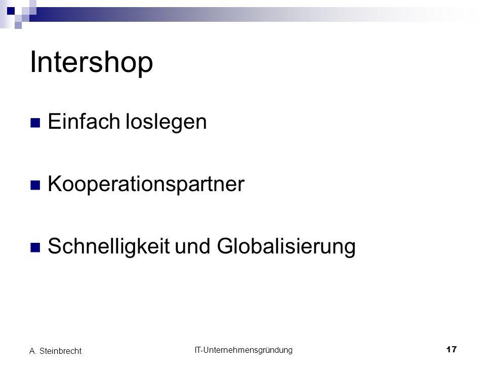 IT-Unternehmensgründung17 A. Steinbrecht Intershop Einfach loslegen Kooperationspartner Schnelligkeit und Globalisierung