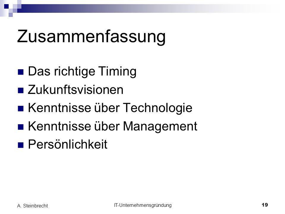 IT-Unternehmensgründung19 A. Steinbrecht Zusammenfassung Das richtige Timing Zukunftsvisionen Kenntnisse über Technologie Kenntnisse über Management P