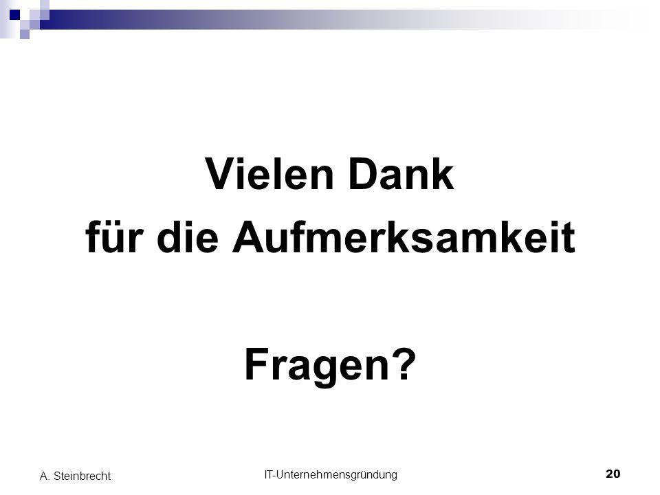 IT-Unternehmensgründung20 A. Steinbrecht Vielen Dank für die Aufmerksamkeit Fragen?