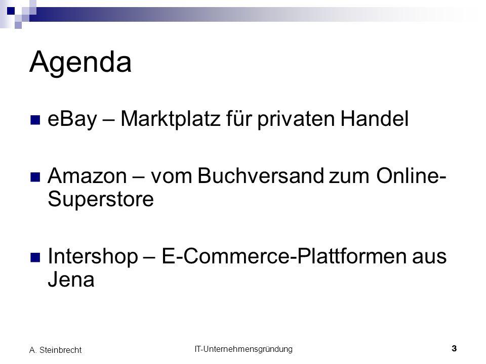 IT-Unternehmensgründung3 A. Steinbrecht Agenda eBay – Marktplatz für privaten Handel Amazon – vom Buchversand zum Online- Superstore Intershop – E-Com