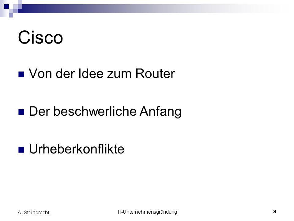 IT-Unternehmensgründung8 A. Steinbrecht Cisco Von der Idee zum Router Der beschwerliche Anfang Urheberkonflikte