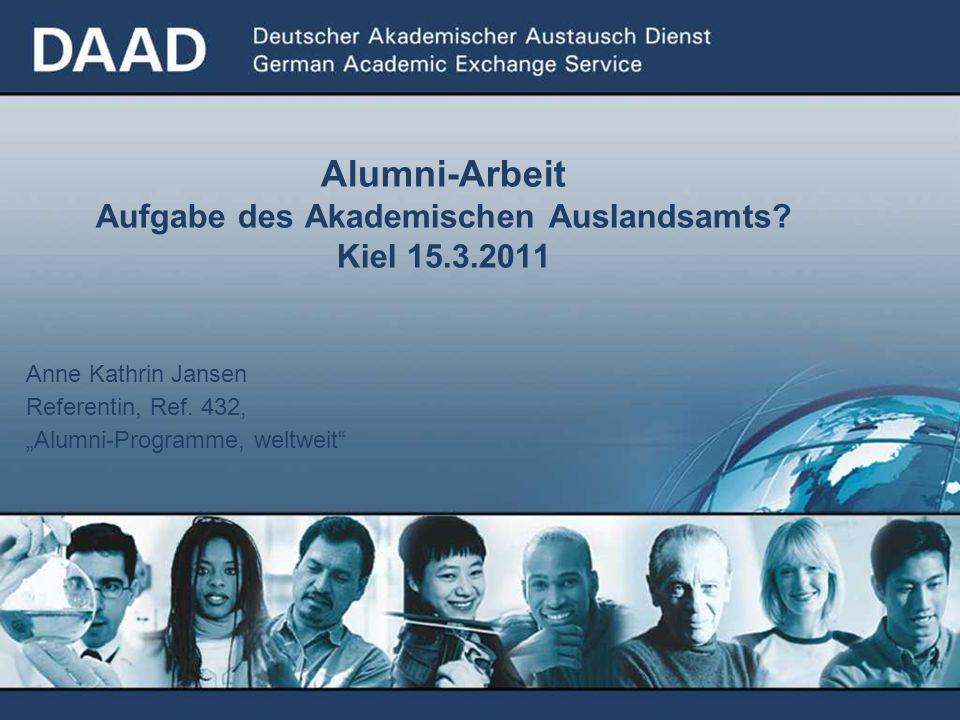 Anne Kathrin Jansen Referentin, Ref. 432, Alumni-Programme, weltweit Alumni-Arbeit Aufgabe des Akademischen Auslandsamts? Kiel 15.3.2011