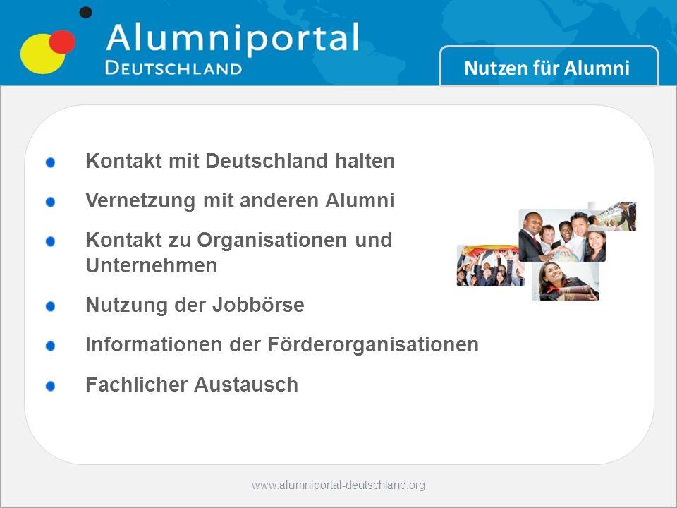 10 www.alumniportal-deutschland.org Nutzen für Alumni Kontakt mit Deutschland halten Vernetzung mit anderen Alumni Kontakt zu Organisationen und Unter