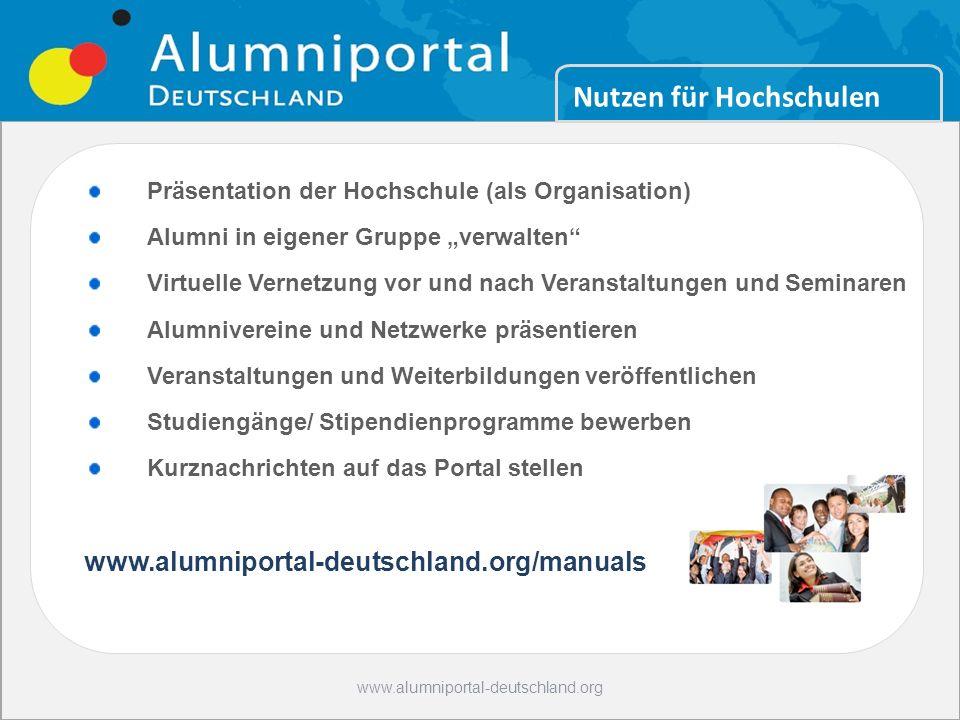 11 24.10.2008www.alumniportal-deutschland.org Bildung Hot Spot Germany Deutsch sprechen Alumni können: Weiterbildungen finden, Informationen aus den H