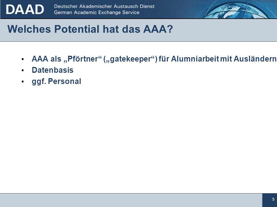 55 Welches Potential hat das AAA? AAA als Pförtner (gatekeeper) für Alumniarbeit mit Ausländern Datenbasis ggf. Personal