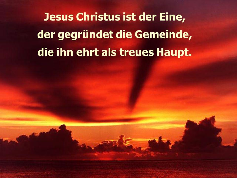 Jesus Christus ist der Eine, der gegründet die Gemeinde, die ihn ehrt als treues Haupt.