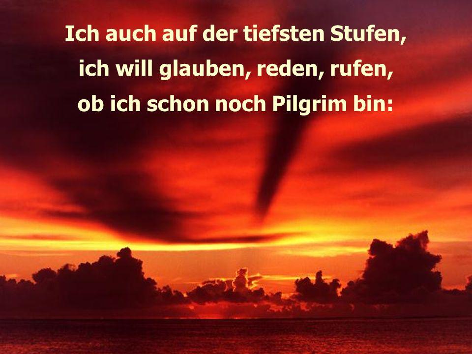 Ich auch auf der tiefsten Stufen, ich will glauben, reden, rufen, ob ich schon noch Pilgrim bin: