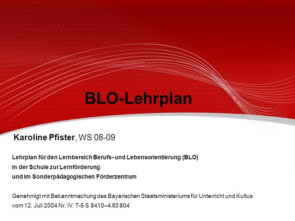 BLO-Lehrplan Lehrplan für den Lernbereich Berufs- und Lebensorientierung (BLO) in der Schule zur Lernförderung und im Sonderpädagogischen Förderzentru
