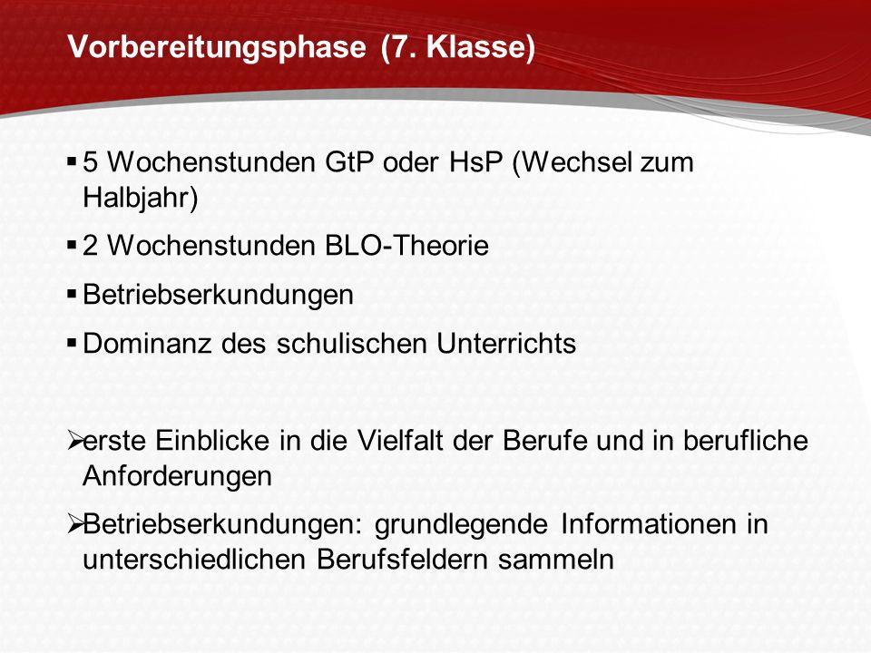 Vorbereitungsphase (7. Klasse) 5 Wochenstunden GtP oder HsP (Wechsel zum Halbjahr) 2 Wochenstunden BLO-Theorie Betriebserkundungen Dominanz des schuli