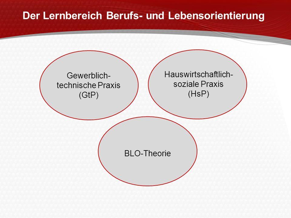 Der Lernbereich Berufs- und Lebensorientierung Gewerblich- technische Praxis (GtP) Hauswirtschaftlich- soziale Praxis (HsP) BLO-Theorie
