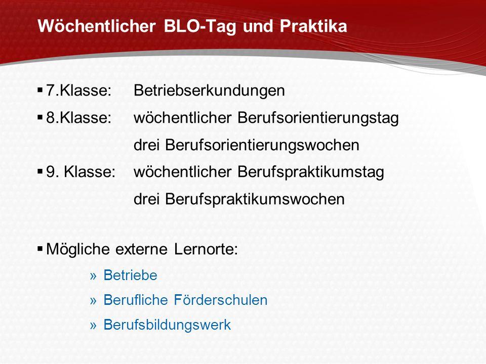 Wöchentlicher BLO-Tag und Praktika 7.Klasse: Betriebserkundungen 8.Klasse:wöchentlicher Berufsorientierungstag drei Berufsorientierungswochen 9. Klass