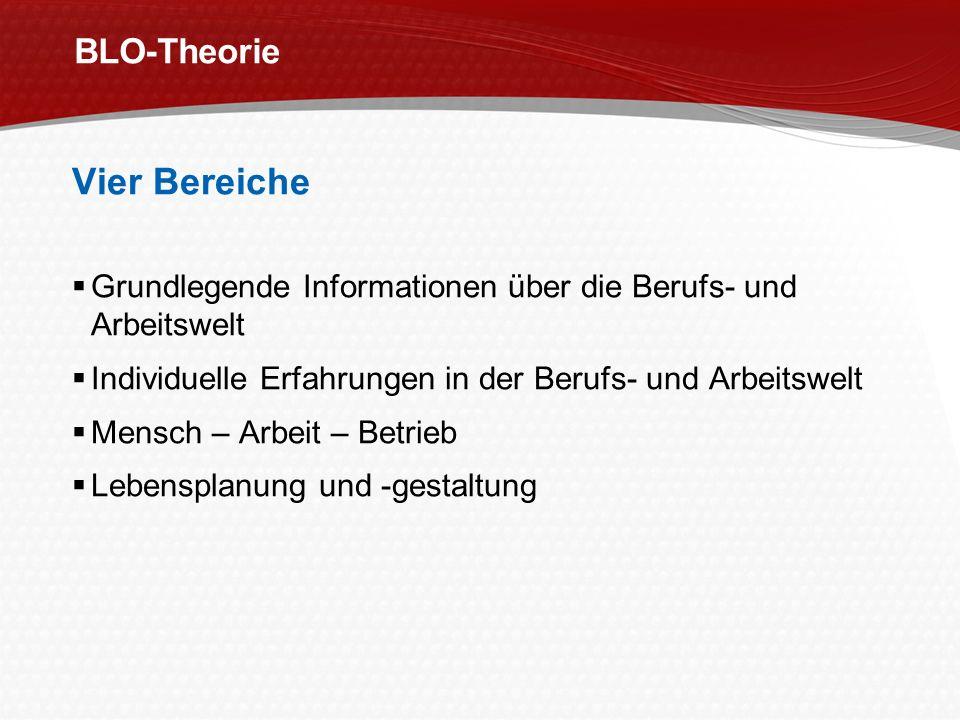 BLO-Theorie Vier Bereiche Grundlegende Informationen über die Berufs- und Arbeitswelt Individuelle Erfahrungen in der Berufs- und Arbeitswelt Mensch –