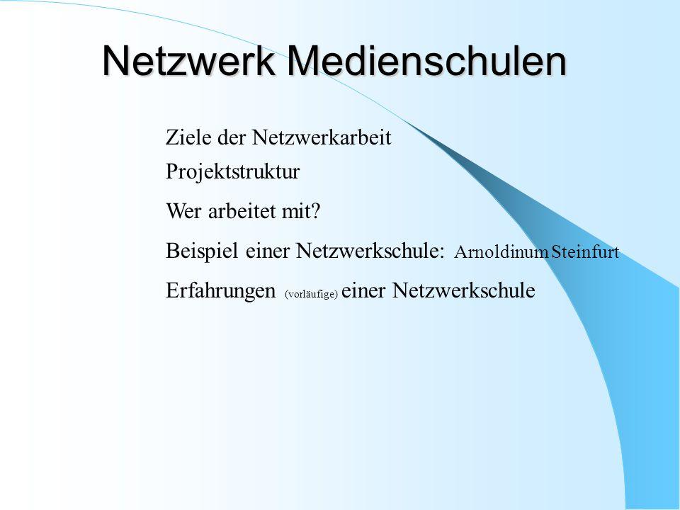 Ziele der Netzwerkarbeit Projektstruktur Wer arbeitet mit? Beispiel einer Netzwerkschule: Arnoldinum Steinfurt Erfahrungen (vorläufige) einer Netzwerk