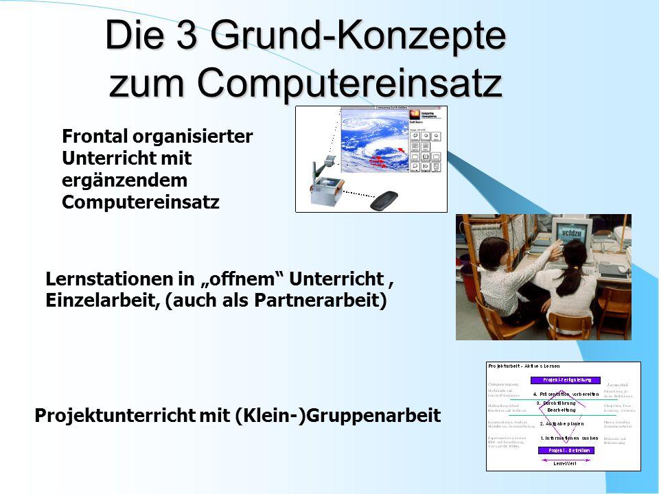 Die 3 Grund-Konzepte zum Computereinsatz Frontal organisierter Unterricht mit ergänzendem Computereinsatz Lernstationen in offnem Unterricht, Einzelar