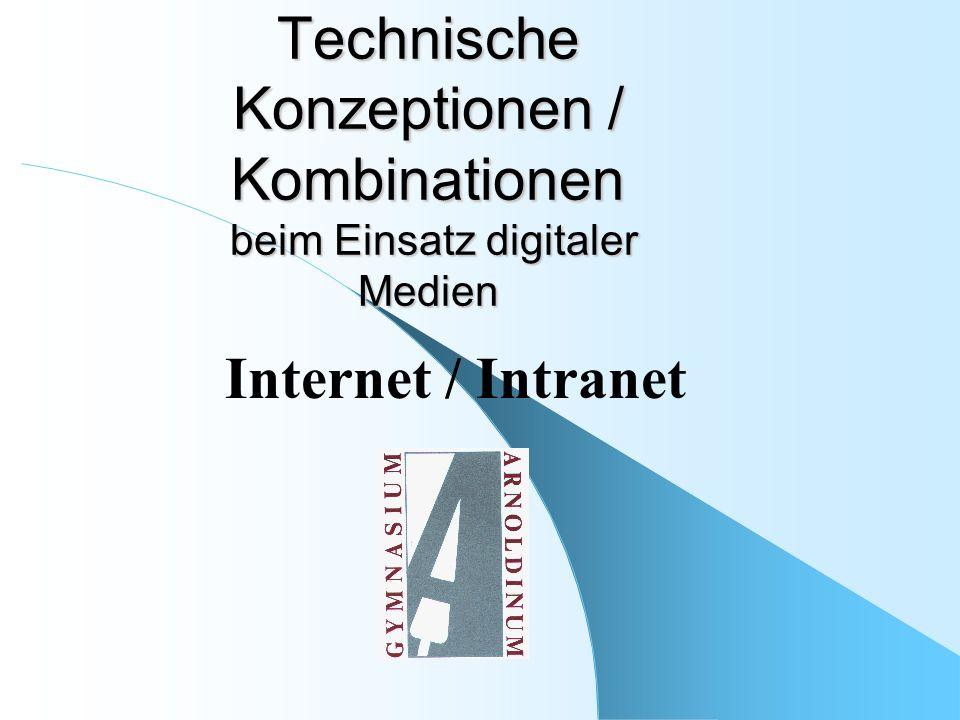 Technische Konzeptionen / Kombinationen beim Einsatz digitaler Medien Internet / Intranet
