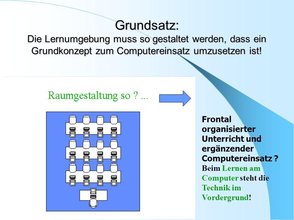 Grundsatz: Die Lernumgebung muss so gestaltet werden, dass ein Grundkonzept zum Computereinsatz umzusetzen ist! Frontal organisierter Unterricht und e