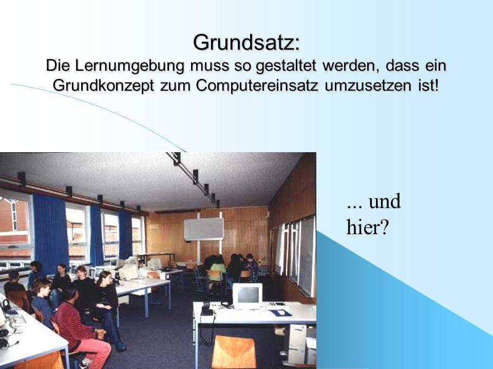 Grundsatz: Die Lernumgebung muss so gestaltet werden, dass ein Grundkonzept zum Computereinsatz umzusetzen ist!... und hier?