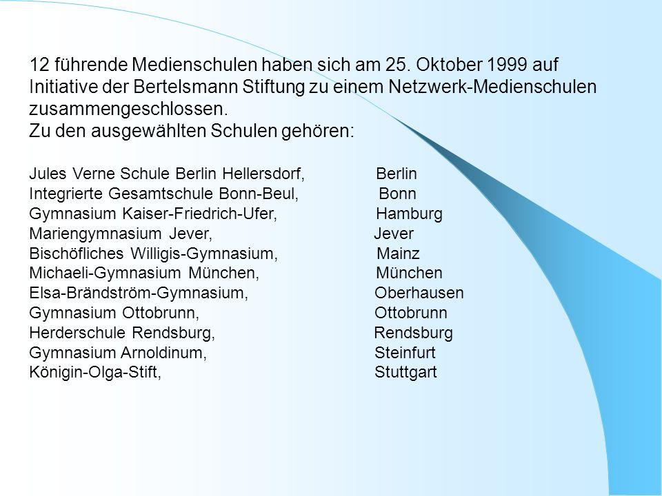 12 führende Medienschulen haben sich am 25. Oktober 1999 auf Initiative der Bertelsmann Stiftung zu einem Netzwerk-Medienschulen zusammengeschlossen.