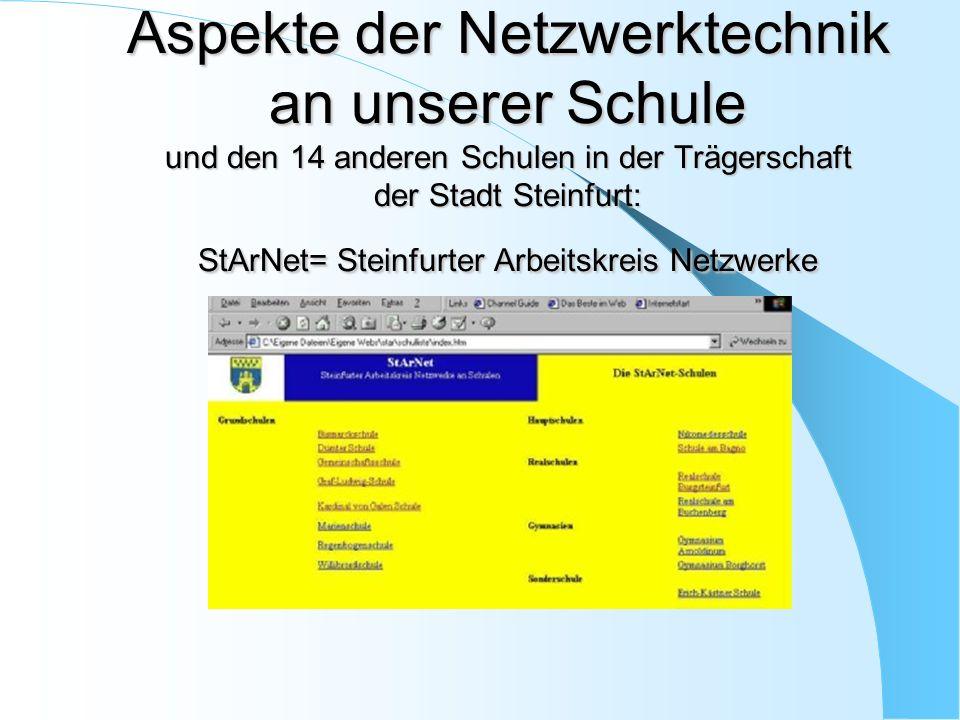 Aspekte der Netzwerktechnik an unserer Schule und den 14 anderen Schulen in der Trägerschaft der Stadt Steinfurt: StArNet= Steinfurter Arbeitskreis Ne