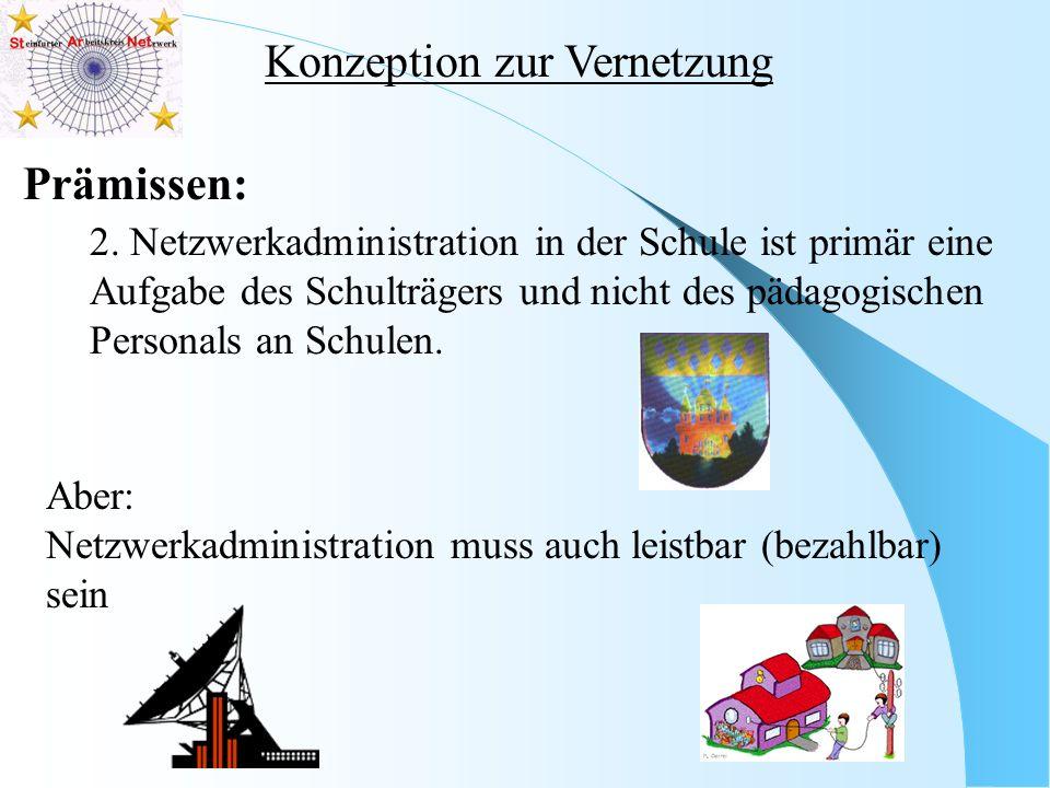 Konzeption zur Vernetzung Prämissen: 2. Netzwerkadministration in der Schule ist primär eine Aufgabe des Schulträgers und nicht des pädagogischen Pers