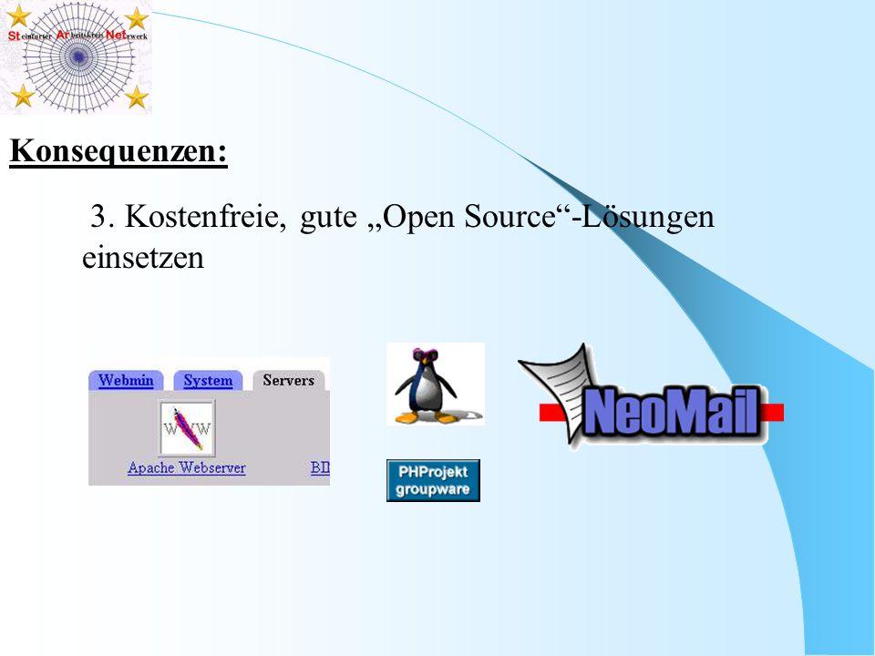 Konsequenzen: 3. Kostenfreie, gute Open Source-Lösungen einsetzen